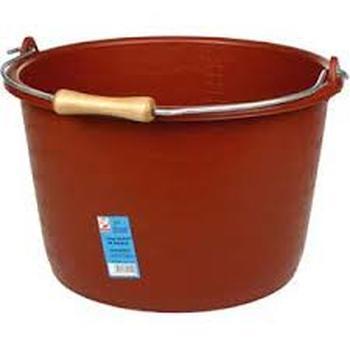 Seau de maçon - PE + caoutchouc, rouge poignée en bois 18L Solid