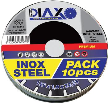 10 Disques à tronçonner INOX/ACIER Premium construction Prodiaxo en box alu